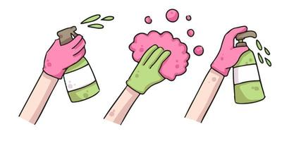 desinfecteer en ontsmet tekening handen illustratie
