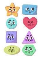 set van leuke vormen met gezichten doodle vector