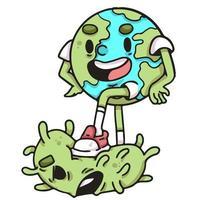 aarde die de illustratie van het coronavirus-karakter verslaat