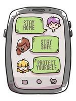 blijf thuis, blijf veilig coronavirus illustratie