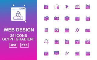 25 premium webdesign en ontwikkeling glyph gradiënt icon pack vector