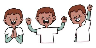 schattige cartoon jongen blij, opgewonden en succesvolle illustratie set vector