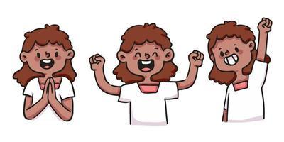 cute cartoon meisje blij, opgewonden en succesvolle illustratie set vector