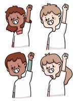schattige cartoon mensen blij, opgewonden en succesvolle illustratie set vector