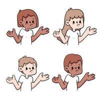 mensen twijfelen reactie instellen schattige cartoon afbeelding