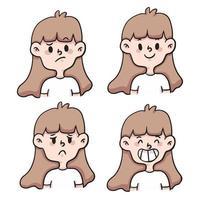 cartoon verschillende soort emotie instellen schattige cartoon afbeelding