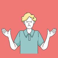 gekke en gefrustreerde cartoon afbeelding vector