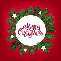 vector nieuwjaar en kerstkrans met kalligrafie merry christmas-tekst. traditionele winter groenblijvende groene takken en witte sterren, geïsoleerd op rode achtergrond. voor wenskaart. gelukkig xmas retro vakantie ontwerp