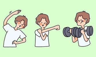 schattige jongen oefent gezond uit en strekt zich uit over leuke cartoonactiviteiten vector