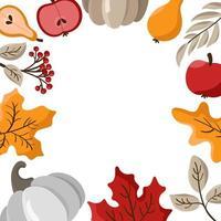 herfstbladeren, fruit, bessen en pompoenen grenskader achtergrond met ruimtetekst. seizoensgebonden bloemen esdoorn eik oranje bladeren voor thanksgiving day