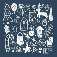 Nieuwjaar kerstkaart vector overzicht pictogramserie. verschillende decoratieve elementen voor wintervakantie voor ontwerp. trendy scandinavische stijl. doodle schets in stijl van kind hand tekenen