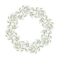 frame van krans met bladeren en takken. decor ontwerp met copyspace geïsoleerd op wit. geschetste bloemen- en kruidenkrans. handgetekende vectorstijl, aardillustratie