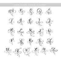vector hand getrokken kalligrafische bloeien letters monogram of logo. hoofdletters hand belettering alfabet met wervelingen en krullen. bruiloft bloemdessin