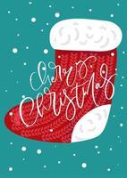 vector santa kerst rode sok met kalligrafische tekst vrolijk kerstfeest. vakantie xmas afbeelding ontwerp. vrolijk kerstfeest wenskaart, spandoek, poster, nieuwjaar