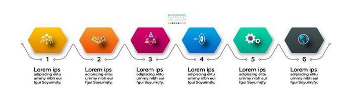 6 stappen van een zeshoekig ontwerp, duidelijk beschreven en onderverdeeld in stappen. infographic.