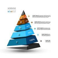 het nieuwe ontwerp van de piramidevorm presenteert de resultaten van procesanalyse, bedrijfsorganisaties, onderzoek. vector infographic.