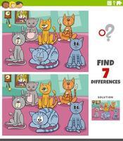verschillen educatieve taak met cartoon katten groep vector