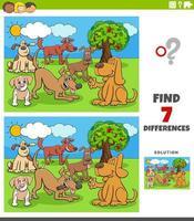 verschillen educatief spel met cartoon honden groep vector