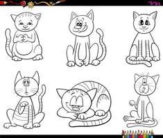 cartoon katten en kittens instellen kleur boekenpagina vector