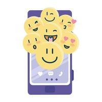 gelukkige emoji's op smartphone vectorontwerp vector