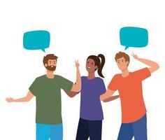 vrouw en mannen avatars met communicatie bubbels vector ontwerp