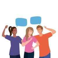 vrouwen en man avatars met communicatie bubbels vector design