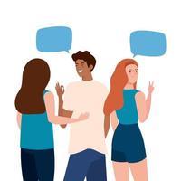 vrouwen en man avatars achteruit met communicatie bubbels vector design