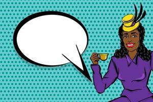 zwarte afro vrouw popart dronk thee vector