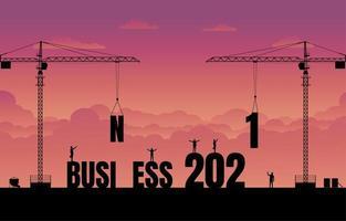 bouwplaats kraan bouwen van een business tekst idee concept