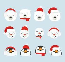 schattige cartoon arctische hoofden kerstset