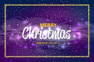 kerstmis en gelukkig nieuwjaar bokeh vector