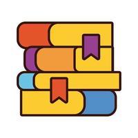 stapel schoolboeken school lijn en opvulling stijlicoon vector