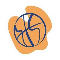 basketbal in losse lijn stijlicoon vector