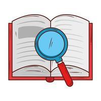 schoolsymbool, open boekliteratuur met vergrootglas vector