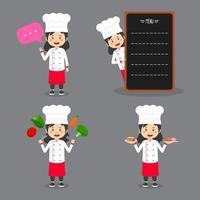 vrouwelijke chef-kok met verschillende activiteiten vector