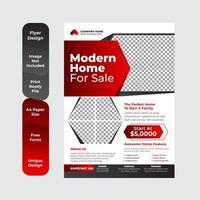 makelaardij flyer sjabloonontwerp met rode kleur vector