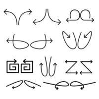 aangepaste pijlen, richtingspijlen met abstracte vormen. vector illustratie