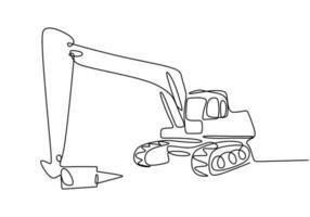 doorlopende lijntekeningen of een lijntekening van een graaflaadvoertuig voor de bouw.