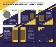 microblog carrousel ontwerpsjabloon voor post op sociale media vector