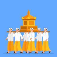 groep balinese jongens draagt een heilig voorwerp op de schouder