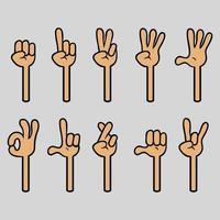 vier vinger cartoon handgebaar collectie vector