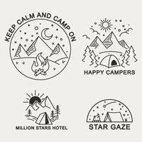 fijne tip stijl illustratie badge van bergkamperen vector
