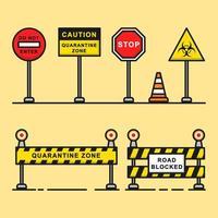barricade van grafische elementen in de quarantainezone