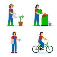 vrouw past groene levensstijl illustratie toe vector