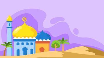 platte moskee koepel landschap-achtergrond