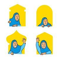 vrouwelijke moslim stripfiguur gluren in het raam van de moskee vector