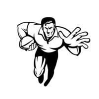rugbyspeler die met bal loopt die retro ontwerp in zwart-wit afweert