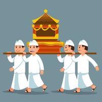 parade van Bali-mannen dragen een heilig voorwerp op de schouder