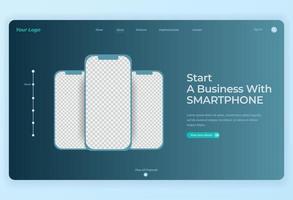 3 smartphones voor bestemmingspagina vector