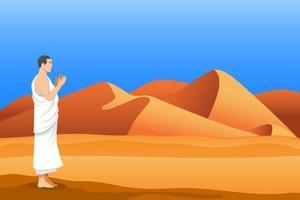 staan en bidden van de hadj-pelgrim in de woestijn vector